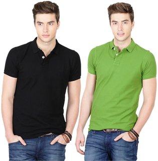 Ansh Black & Green Polo T-Shirt