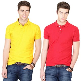 Ansh Yellow & Red Polo T-Shirt