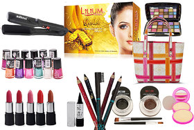 Laser Beauty Combo Makeup Sets With Straightener Cum Curler
