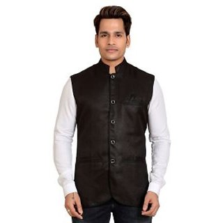Kandy Black Regular Fit Nehru Jacket For Men