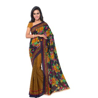 Anand Sarees Faux Georgette Multi Colored Printed Saree With Blouse Piece (11072)