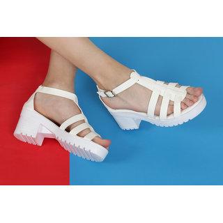 Estatos Open Toe Buckle Closure White,Peach,Blue,Black Coloured Gladiator Sandal