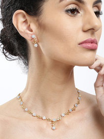Zaveri Pearls Sparkling CZ Diamond with Leafy Design Necklace Set- ZPFK5425