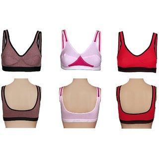 Pack of 3 Multicolour Gym Sports Bra Active Bra Ladies Girsl Tshirt Bra