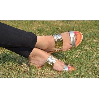 Estatos Open Toe Twin Strap Silver,Black,Golden Flat Sandal