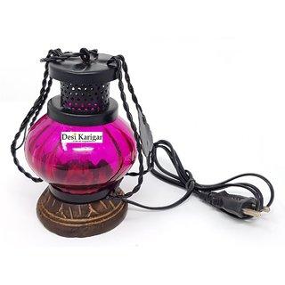Desi Karigar Wooden  Iron hand carved Colored Electric Chimney Lantern design  Pink ( Pink, 7 x 5 inch )