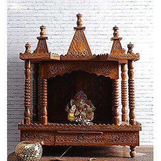 Shilpi Handicrafts Hand-carved Solidwood Brown Mandir / Pooja Mandir / Temple NHSCN004