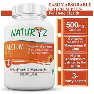 Naturyz Calcium Plus Formula with Vitamin D3 and Magnesium - 60 Tablets