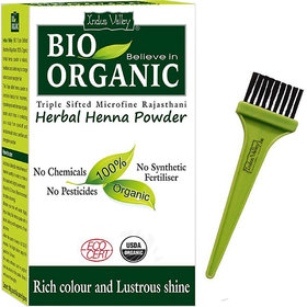 Indus valley Bio Organic Herbal Henna Powder with Applicator Brush Combo Kit