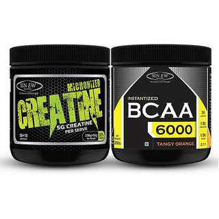 Sinew Nutrition Micronised Creatine Monohydrate - 300g and Instantized BCAA 2:1:1, 200gm BCAA (500 g, Unflavored)