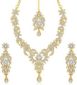 Sukkhi Alloy Gold Plated Austrian Diamond Necklace Set For Women