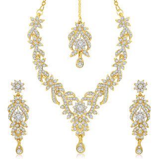 Sukkhi Alloy Gold Plated Austrian Diamond Necklace Set For Women