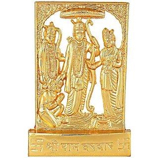 Satya Vipal Gold Plated Metal Ram Darbaar God Idols (Ram Ji, Sita Ji, Laxman Ji, Hanuman Ji - 1 Pc)