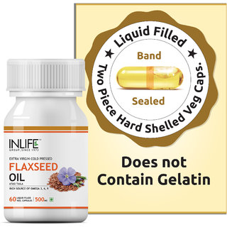 INLIFE FlaxSeed Extra Virgin Cold Pressed Oil,500 mg 60 Veg Capsules For Joints