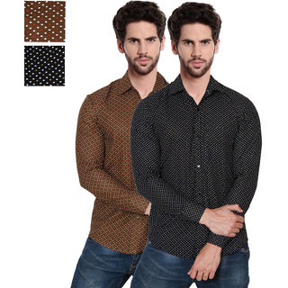 Black Bee Printed Casual Slim fit Shirts For Men Combo Of 2