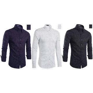 Black Bee Combo Of 3 Printed Casual Slim fit Poly-Cotton Shirts For Men's