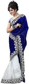 Mastani Blue Velvet Printed Casual Saree With Blouse
