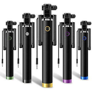 Stylish AUX Wire Selfie Stick for all smartphones (Assorted Colour)