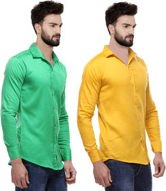 Red Code Pack of 2 Men's  Slim Fit Casual Poly-Cotton Shirt
