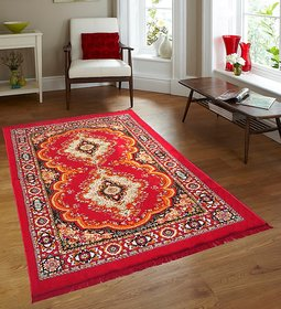 Beautiful  Designer  Quilted  Carpet  7 ft x 5 ft ( Red )