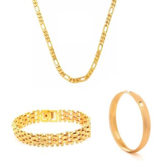 Traditional combo of Men's Chain with Gold Plated bracelet and Kad by GoldNera
