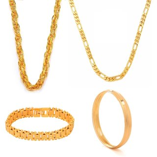 Combo for Men Gold Plated 2 Chains , Contemporary Bracelet and Kada by GoldNera