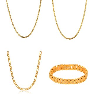 Goldnera Combo Of Goldplated 3 Daily Wear Men'S Chain With Real Gold Adjustable Bracelet For Men/Boys