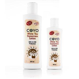 COYO White Tea Sunscreen Lotion - Combo Pack (100 ml + 200 ml)