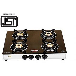 Brightflame ISI Marked 4 Burner Black Glass Stove - Tulip Series