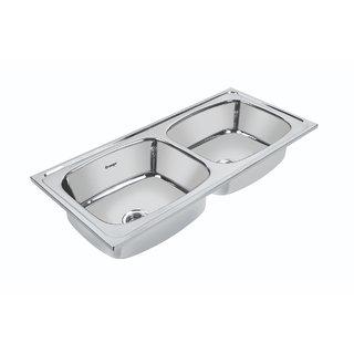 Orange Double Bowl Kitchen Sink 45X20X9 inch