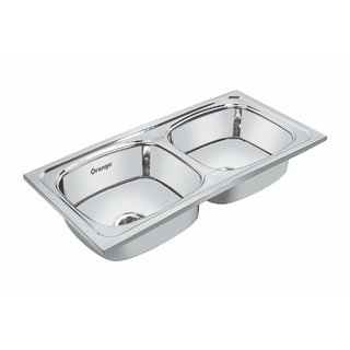 Orange Double Bowl Kitchen Sink 37x18X8 inch