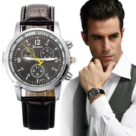 Leather Band Stainless Steel Analog Quartz Watch for men andGirls women