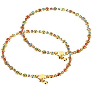 Goldnera Colorful Thin Lightweight Colorful Stone, Brass Anklet  (Pack Of 2)