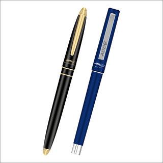 ADD GEL Combo Offer Pack Of 2 Pen Gold Diamond - Roll Tech Gel Roller Pen - Blue Set of 3