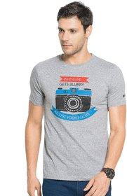 Zorchee Men's Round Neck Half Sleeve Cotton T-Shirts - Gray Melange
