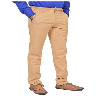JUST TROUSERS light khaki 100 Cotton Lycra Reguler Fit Full stretchable Mens Sleek pant by JUST TROUSERS