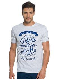 Zorchee Men's Round Neck Half Sleeve Poly-Cotton T-Shirts - Ecru Melange