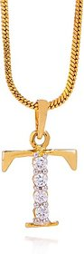 GoldNera Valentine Special Elegant T Alphabet Pendant With Chain