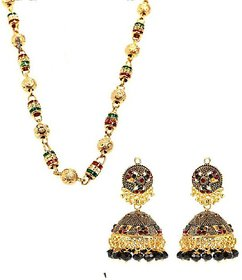 Goldnera Ethnic Chain With Antique Look Hanging Red And Green Earrings Combo