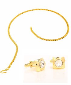 Classy Gold Colour Cufflink And Men'S Chain Combo