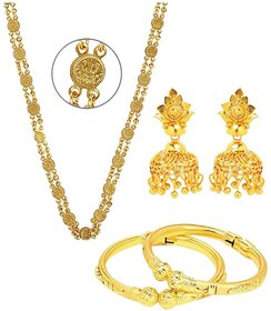 GoldNera Gold Plated Designer Combo Of Ginni Chain, Jhumki And Lattoo Bangle For Women
