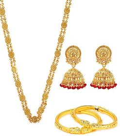 Goldnera Golden Gold Plated Combo Of Bangle And Ginni Chain For Women