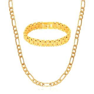 GoldNera Designer Alloy Gold Plated Combo Of Chain & Bracelet For Men