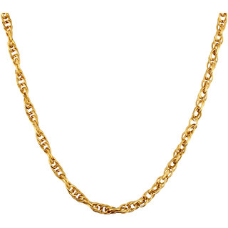 Goldnera 30 Inches Long Interlocked Gold GoldPlated Chain For Men