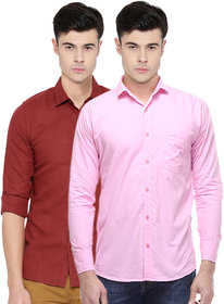 Ankur Enterprises Solid Full Sleeves Casual Poly-Cotton Shirts For Men Combo of 2