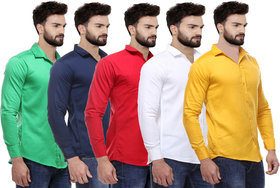 Red Code Plain Casual Shirts For Men Pack Of 5