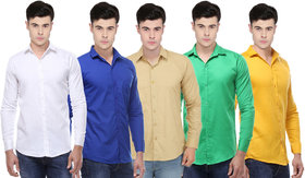 Ankur Enterprises Solid Full Sleeves Casual Poly-Cotton Shirts For Men Combo of 5