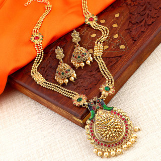 Sukkhi Gold Alloy Gold Plated Necklace Sets For Women