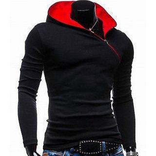 Redbrick Oblique Black & Red Cotton Zipper Hooded  Men T-Shirt