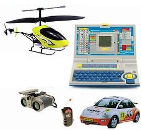 Kids Combo - (Wireless Infrared Control Helicopter + Radio Control Car + Advance Laptop For Kids For Creative Learning) With Remote+ Night Scope Binocular